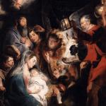 The adoration of the shepherds is the scene depicted in the thirth cantata of the Weihnachtsoratorium, so I am honoured to present to you the adoration by Jacob Jordaens (1593-1678), a painter of my hometown of Antwerp, a contemporary of Rubens and Van Dyck. This painting hangs in a museum in Grenoble since it was robbed in 1794 by the French who occupied our country at the time. It is one of at least 173 outstanding works of art they took.