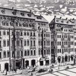 Katharinenstraße 16, 14 and 12, engraving by Johann George Schreiber in 1720. Number 14, the house in the middle, is Café Zimmermann, home of the musical ensemble Collegium Musicum, which Bach led from 1729 to 1741.