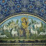 The good shepherd, mosaic in the Mausoleum of Galla Placidia, Ravenna, Italy (from around 425).