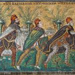 The journey of the Three Magi, carrying gold, frankincense and myrrh, following the star in the right hand corner. Mosaic in the Basilica of Sant'Apollinare Nuovo, Ravenna, Italy, from the 6th century.