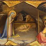 The nativity, a tempera on wood painting by Lorenzo Monaco (born Piero di Giovanni; c. 1370 – c. 1425), the leading painter in Florence in the early fifteenth century and active as a painter of illuminated manuscripts, frescoes and panel paintings.