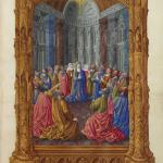 Pentecost, from the Très Riches Heures du Duc de Berry, a book of hours by the Dutch painters the Limbourg brothers, left unfinished in 1416 when all three brothers and their patron, Jean, Duc de Berry, died, possibly from the plague. Musée Condé, Chantilly, France.