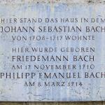 Remembrance plaque marking the spot where Bach's house stood in Weimar. That location is now... a parking lot.
