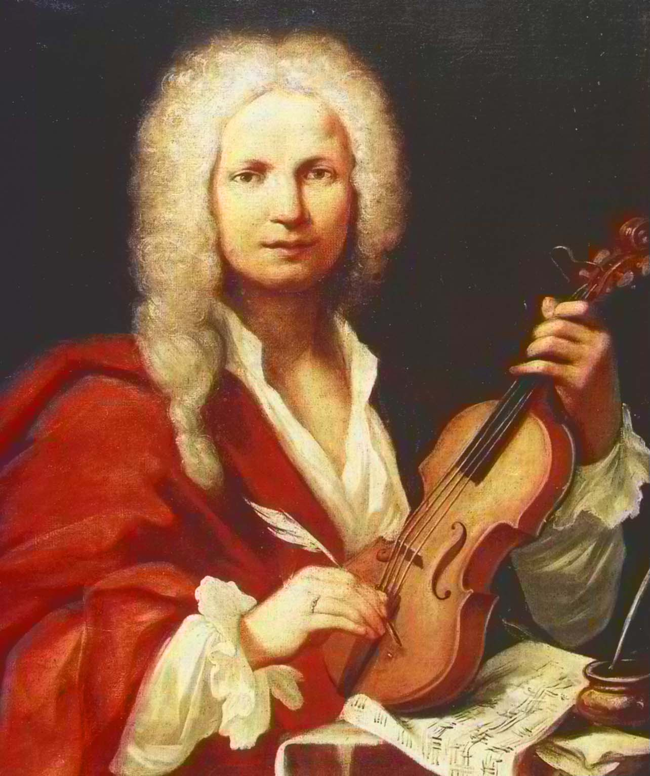 "Probable portrait of Antonio Vivaldi, around 1723. Bach rendered hommage to this great Italian composer in the opening bars of the tenor aria in the cantate, Wer weiß, wie nahe mir mein Ende?, BWV 27: it echoes the opening lines of Antonio Vivaldi's ""Spring"" of the Four Seasons, which was published the year before in 1725."