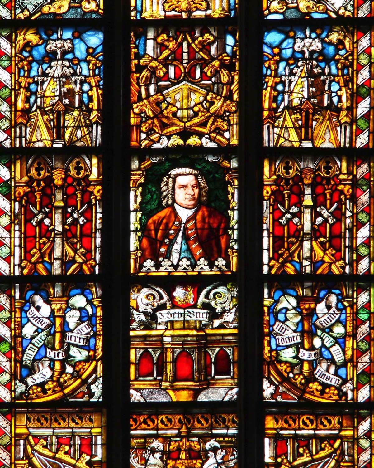 The Bach glass window in the Thomaskirche in Leipzig.