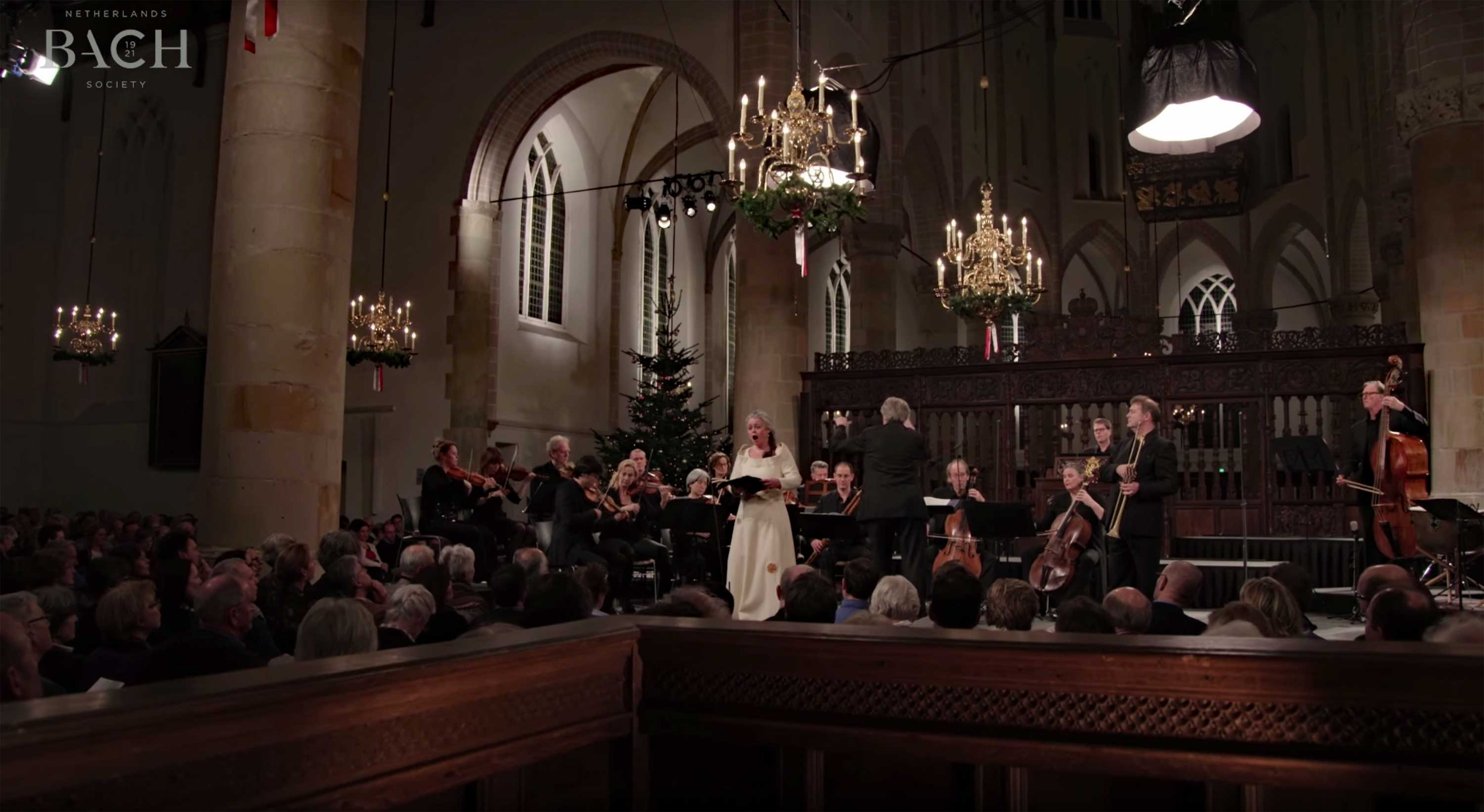 Maria Keohane, soprano, in a performance of Jauchzet Gott in allen Landen, BWV 51, with the Netherlands Bach Society in the Grote Kerk in Naarden.