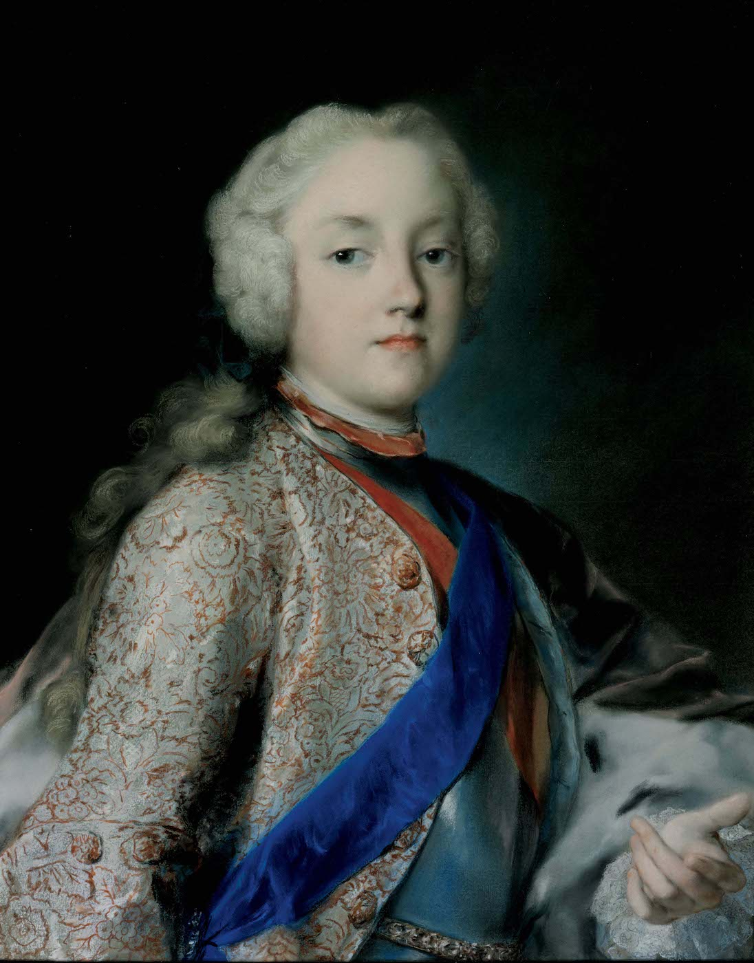 Portrait of crown prince Friedrich Christian of Saxony by Rosalba Carriera around 1739-1740 (Gemäldegalerie Alte Meister, Dresden). Rosalba Carriera was a female rococo painter from Venice, Italy, who was admired by the crown prince's father Frederick Augustus II, Prince-Elector of Saxony and King of Poland.