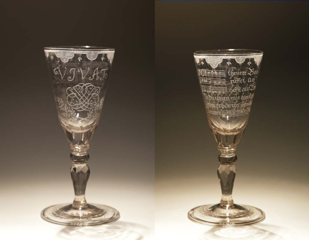 On display in the Bachhaus in Eisenach is the Bach Goblet, one of very few undoubtedly authentic household items left from Bach's possessions. It is a Bohemian-Saxon work from around 1735. In the front, there is a VIVAT with a double (mirrored) monogram of the letters JSB underneath. The ends of the letters terminate in points. In total, there are 14 of these points – the Bach number, since B+A+C+H = 2+1+3+8 = 14 according to baroque numerology. In the back, there is a dedication poem that includes the name of Bach both in letters and in (German) musical notation. It is still an unsolved riddle who may have been the donor of the goblet, and on what occasion Bach received it.