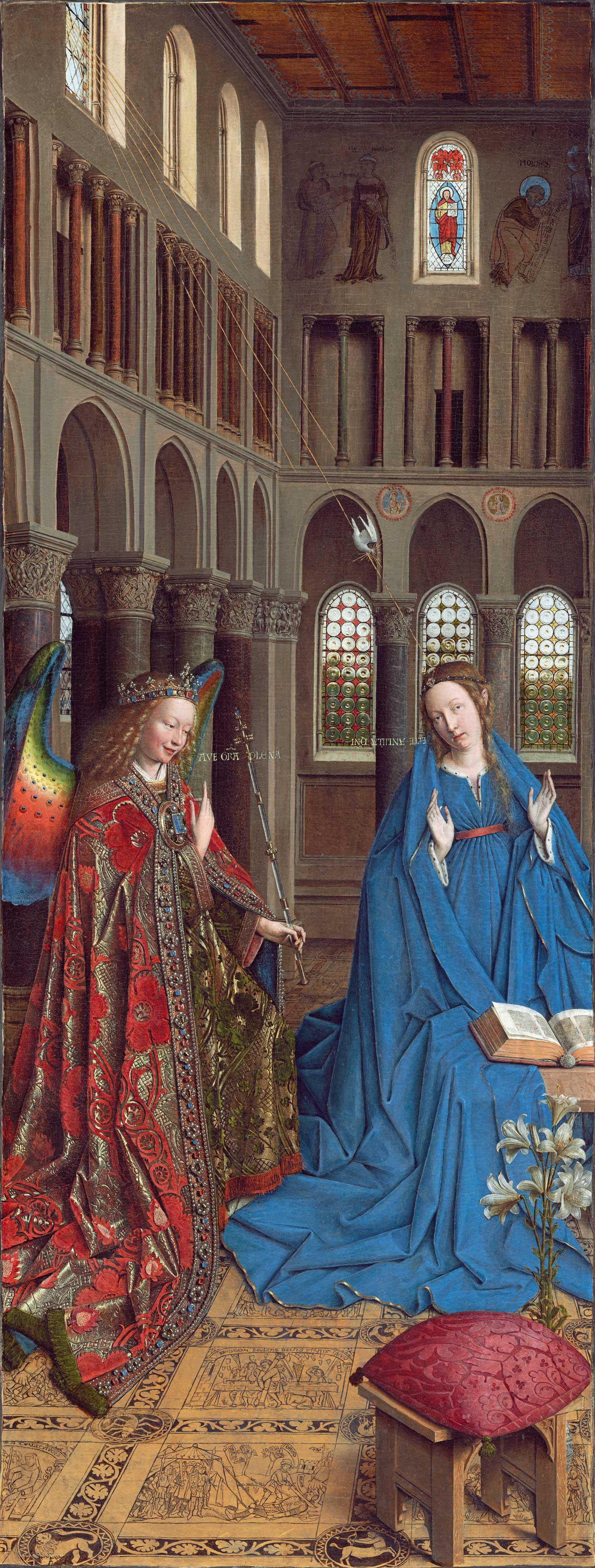 The Annunciation (1434–1436) by Jan Van Eyck (c.1390-1441), National Gallery of Art, Washington DC. It is thought that it was the left (inner) wing of a triptych; there has been no sighting of the other wings since before 1817.