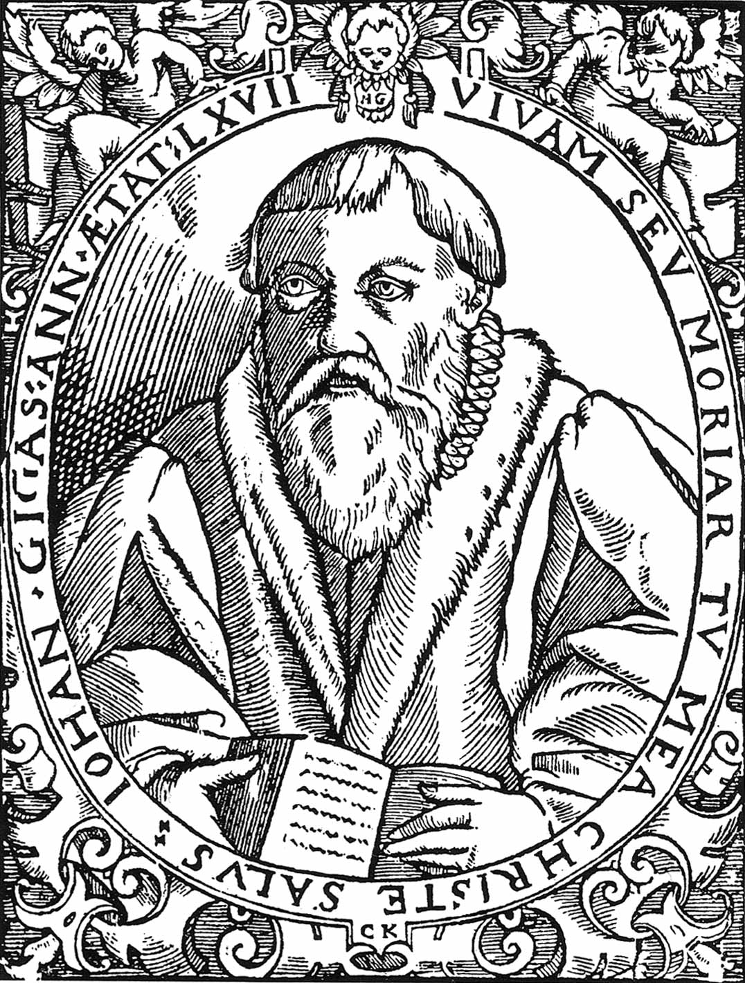 A 16th century woodcarving of Johannes Gigas (1514-1581), a German Protestant theologian, hymn writer, educator and reformer. The libretto of Ach, lieben Christen, seid getrost, BWV 114, is based on a hymn text by Gigas with the same name.