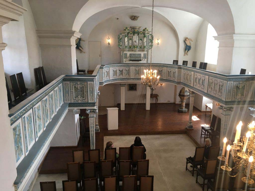 On 7 July 1720, while Bach was away in Karlsbad with Prince Leopold, Bach's wife suddenly died. The following year, he met Anna Magdalena Wilcke, a young, highly gifted soprano 16 years his junior, who performed at the court in Köthen; they married on 3 December 1721 in this chapel at the court of Köthen. Together they had 13 more children, 6 of whom survived into adulthood. (source: Wikipedia)