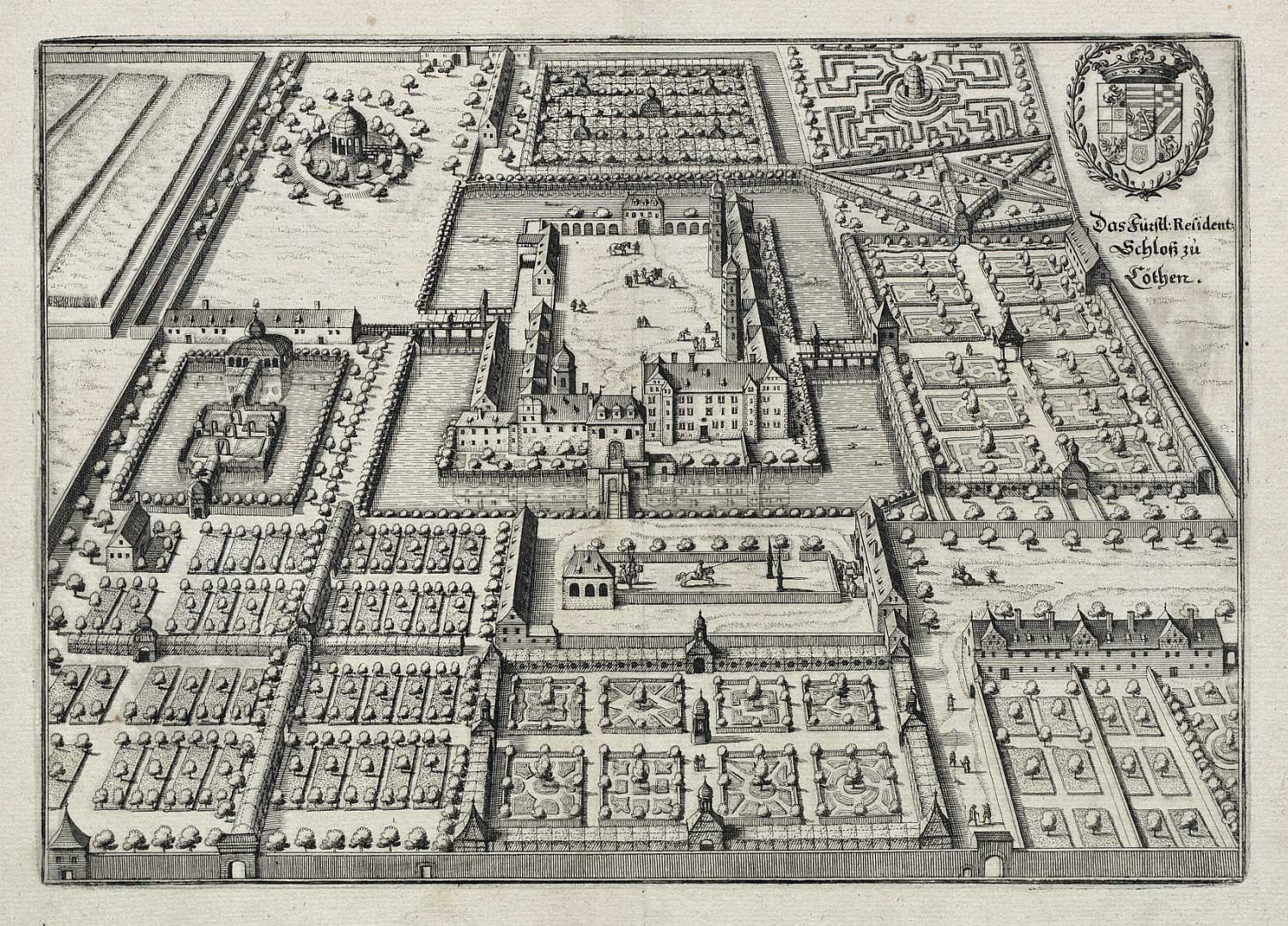 Schlossanlage Köthen, home of the princes of Köthen, around 1650 in a copper etching by Caspar Merians (Bach-Archiv Leipzig).