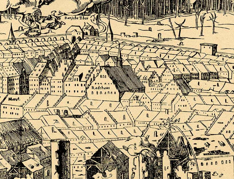 The oldest known depiction of Leipzig's Altes Rathaus (Old Town Hall) from 1547, before the modifications begun by Hieronymus Lotter around 1556, which have given the building its current dimensions and aspect, and which was also the building Bach was familiar with.