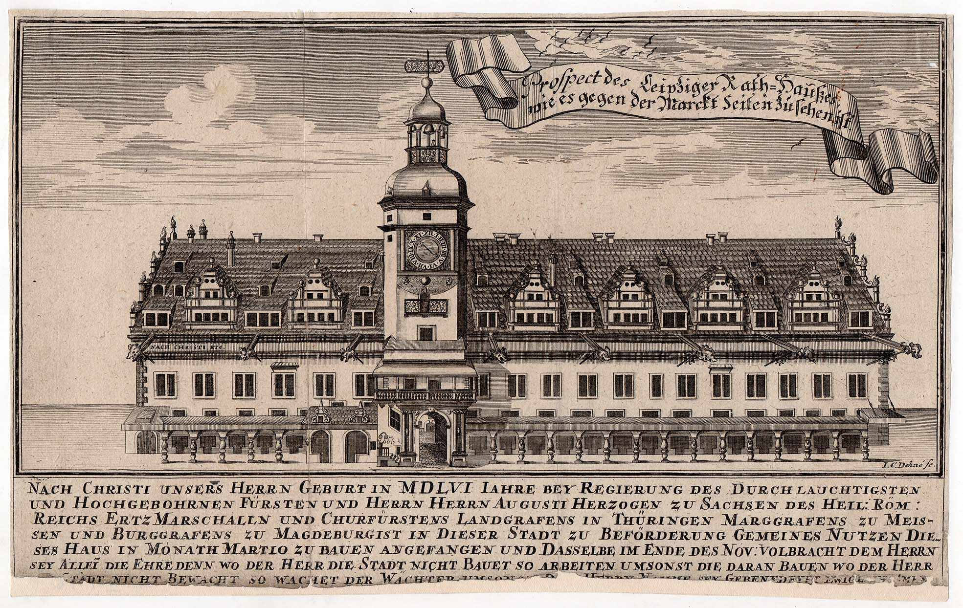 Etching of the Altes Rathaus (Old Town Hall) in Leipzig from 1672.