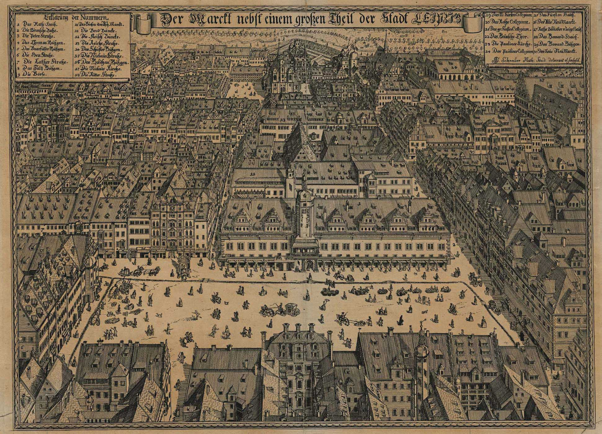 View of the city of Leipzig centered on the main square and the Altes Rathaus (Old Town Hall) from 1712.