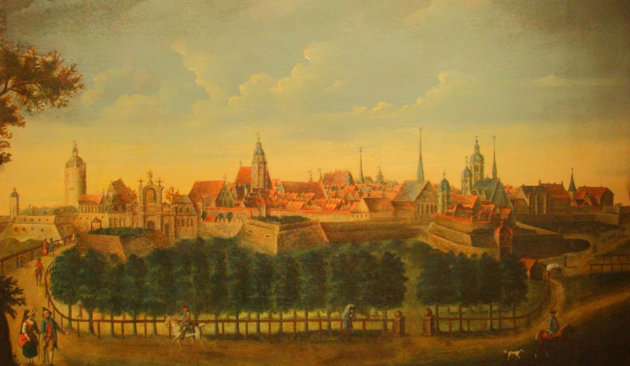 Painting of Leipzig by Christian Schildbach (1765).