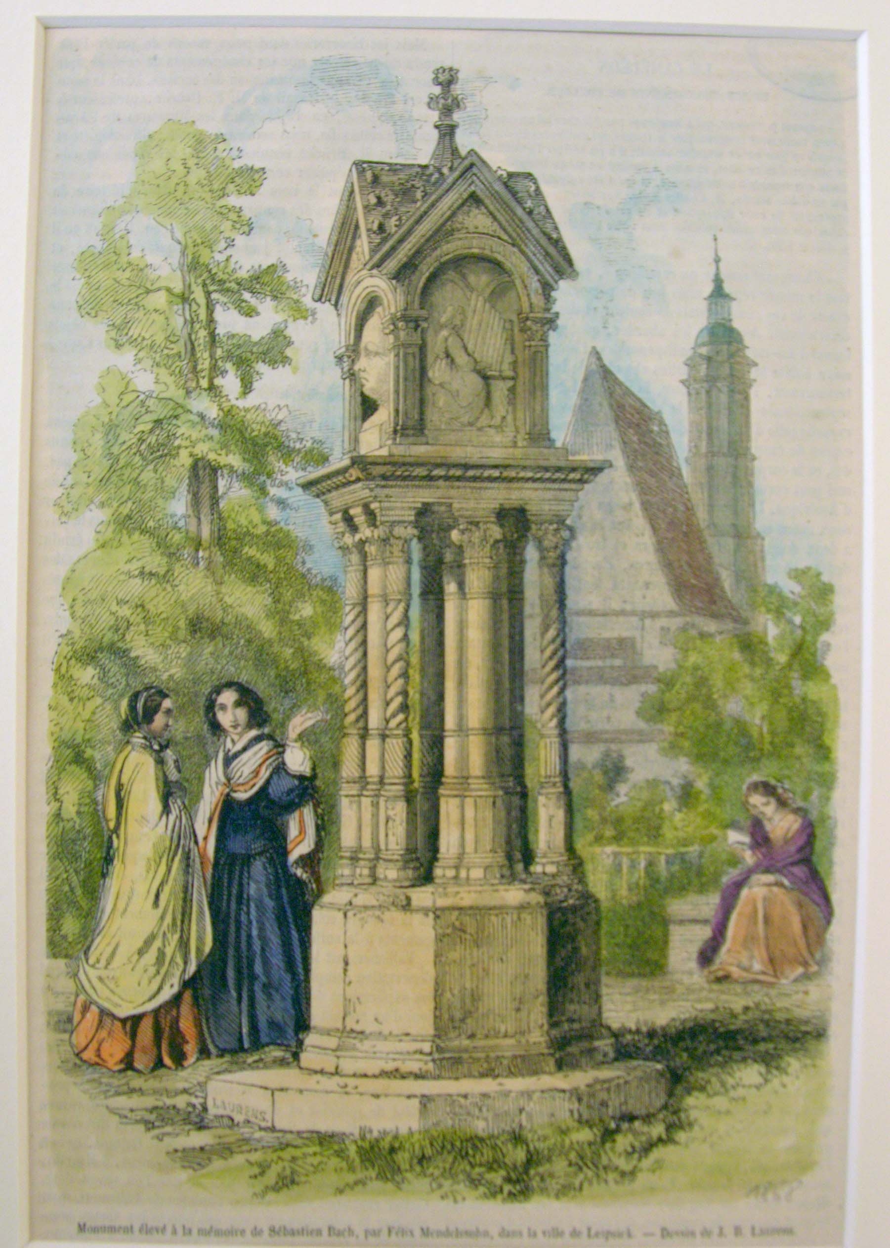Woodcarving print based on an aquarel by Eduard Bendemann (1850) of the monument for Bach in Leipzig, erected by Felix Mendelssohn in 1843. It may very well be the only example of a monument erected by a composer to honour another.