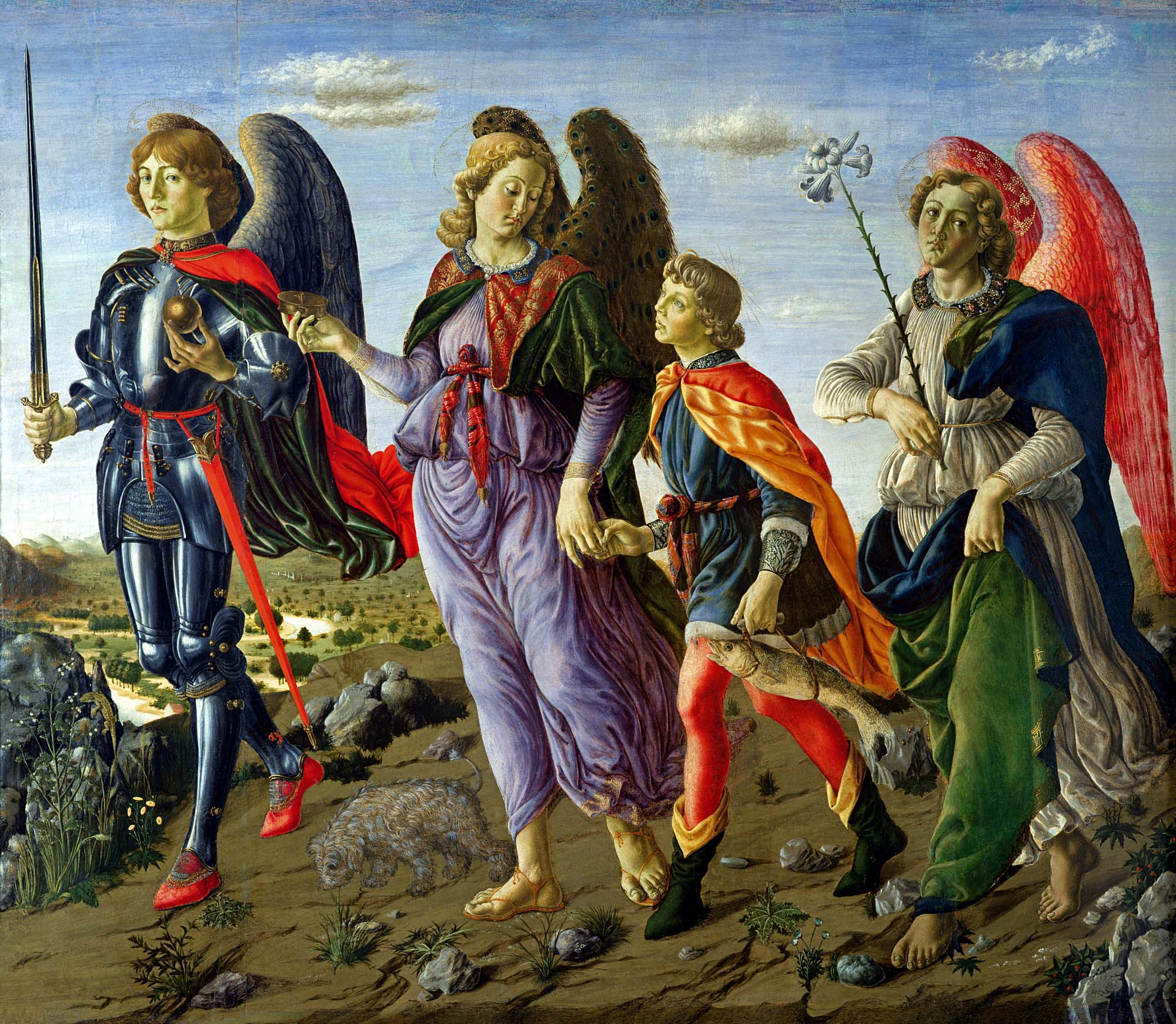 Painting by Francesco di Giovanni Botticini (1446-1498) of the three archangels (from left to right Michael, Raphael, Gabriel) with young Tobias (1470 - Galleria degli Uffizi, Florence, Italy).