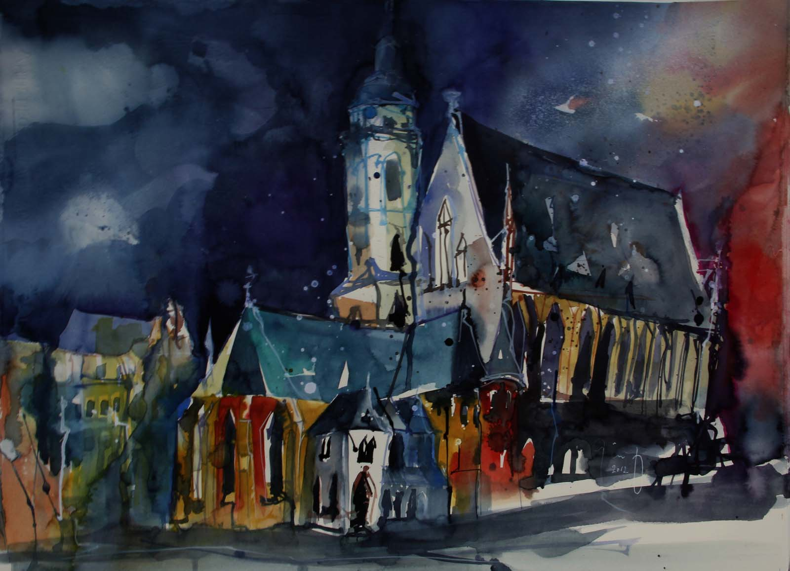 The Thomaskirche in Leipzig, water colour painting by Christian Gödert, a German artist born 1961.